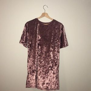 Velvet Crushed Pink T-Shirt Dress